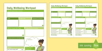 Daily Wellbeing Workpad Postcards - wellbeing, jotter, notes, cards, postcards, daily pad, teacher's pad, memos