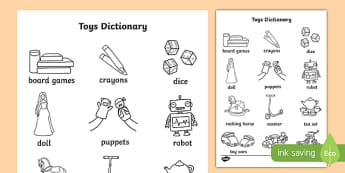 Toys Dictionary Colouring Sheet - toys, colour sheet, dictionary