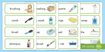 Keeping Clean Word Cards - keeping clean, personal hygiene, hygiene, Word cards, hygiene word cards, keeping clean word cards