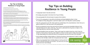 Building Resilience in Young People Top Tips - confidence, emotions, feelings, behaviour, ambitions, young people