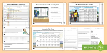 KS2 Handling Data Seaside Activity Pack - frequency, tables, graphs, temperature, tides, tally, times, results, spreadsheet, real life context