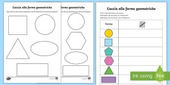 Caccia alle forme geometriche Attività - forme, geometriche, 2d, bidimensionali, caccia, geometria, matematica, italiano, italian, materiale,