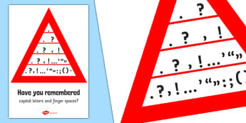 Punctuation Pyramid Poster - Punctuation, VCOP, pyramid, writing aid, writing aids, ellipsis, comma, brackets, semicolon, colon,  full stop, capital letter, foundation stage literacy, letters and sounds, DfES, KS1