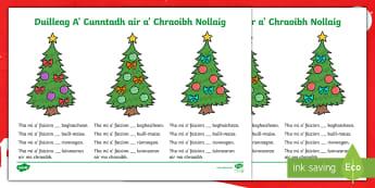Cfe- A' Chiad Ire-Duilleag A' Cunntadh air a' Chraoibh Nollaig - Cfe, A' Chiad Ire, Gaelic, Nollaig, Pacaid, Cànan, Matamataigs, Lethbhreacan