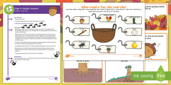 EYFS Take It Outside: Autumn English - Tree Tale Activity - Little Acorns, twinkl originals, fiction, Outdoor and Woodland Learning, Wonder Investigate Learn Di