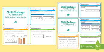 Chilli Challenge Year 2 Addition and Subtraction Maths Cards - Challenge Cards, Plus, Take Away, KS1, Maths Mats