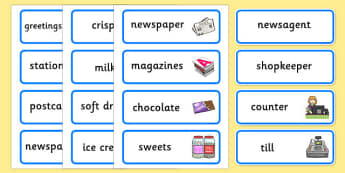 Newsagents Role Play Word Cards