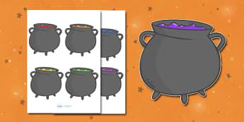 Editable Halloween Cauldrons (Small) - Editable Halloween Cauldrons, cauldrons, small, display, poster, Halloween, pumpkin, witch, bat, scary, black cat, mummy, grave stone, cauldron, broomstick, haunted house, potion, Hallowe'en
