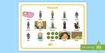 Rapunzel Word Mat (Images) - Rapunzel, prince, witch, tower, long hair, fairytale, traditional tale, Brothers Grimm, tower, woods, forest, prince, let down your hair, story, story sequencing, word mat, writing aid