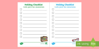 * NEW * Holiday Checklist - English / Spanish - holiday check list, lists, role play, packing list, airport, EAL, travel, travelling, tourism, touri