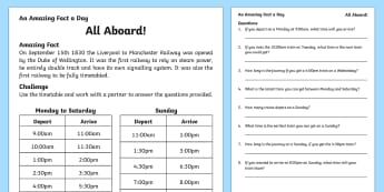 All Aboard Activity Sheet, worksheet