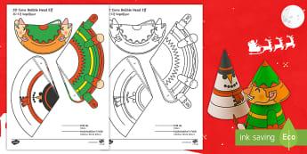Simple 3D Cone Elf Bobble Head Christmas Activity Paper Craft English/German - craft, xmas, craft, EAL, German, English-German