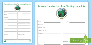 Famous Hoosier Fact File Planning Template - Indiana, Famous People, Graphic Organizer, Research Project, Indiana Research