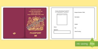 British Passport Template - Passport, Design, holiday, holidays, travel, passport design, fine motor skills, card template, holidays, water, tide, waves, sand, beach, sea, sun, holiday, coast