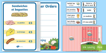 French Cafe Role-Play Pack - Food, Drink, Shops, Francais, act, Coffee, CfE First Level ,Scottish