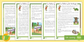 Hoja informativa de atención a la diversidad: La liebre y la tortuga - cuento, infantil, moraleja, liebre, tortuga, fábula, fabula, animales, valores,Spanish