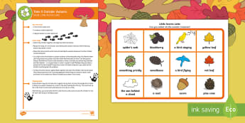 EYFS Take It Outside: Autumn Social - Little Acorns Lotto Activity - Little Acorns, Twinkl originals, fiction, Outdoor and Woodland Learning, Wonder Investigate Learn Di