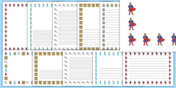 Toys Page Borders - Toys, Page border, border, KS1, writing Borders, robot, doll, skateboard, games console, dice, jigsaw, games, dominos, marbles, pogo, Jack in the box, diabolo, jacks, pop gun, skittles, spinning top