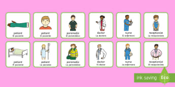 * NEW * Hospital Worker Role-Play Badges - English / Spanish - Hospital Role Play Badges - Hospital Role Play, hospital resources, people who help us, nurser, doct