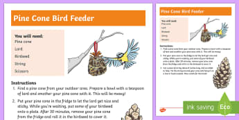 Natural Pine Cone Bird Feeder Step-by-Step Instructions - CfE Outdoor Learning, nature, forest, woodland, playground, birds, feeding, birdseed, pine cone, cra