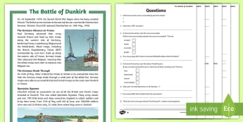KS2 The Battle of Dunkirk Differentiated Reading Comprehension Activity - Dunkirk Spirit, Churchill, Nazi, Germany, Second World War,  World War 2, France, Belgium, comprehen