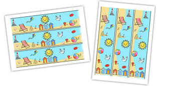 Seaside Display Borders - Seaside, Display border, classroom border, border, water, tide, waves, sand, beach, sea, sun, holiday, coast