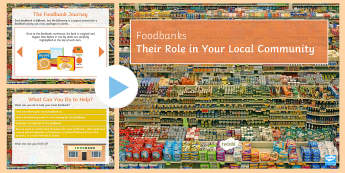 Introducing Food Banks Assembly PowerPoint  - Secondary foodbank, hunger, charity, volunteer, community, parcels, crisis.