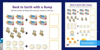 Back to Earth with a Bump Up to 10 Addition Sheet - space, maths, KS1, EYFS, planets, twinkl fiction, sun, moon