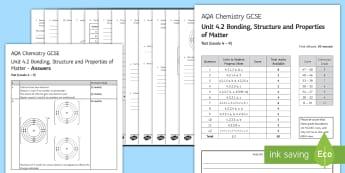 AQA Chemistry (Trilogy) Unit 4.2 Bonding, Structure and Properties of Matter Test - KS4 Assessment, Test, chemistry, separate science, gcse, bonding, bond, covalent, ionic, simple mole