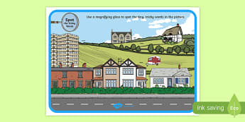 Phase 4 Tricky Words Houses and Homes Scene Magnifying Glass Poster