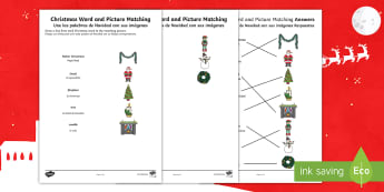 Christmas Word and Picture Matching Activity Sheet English/Spanish - EAL, fireplace, elf, santa, tinsel, matching, pencil control