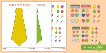 Design a Clown Tie Activity - circus, circus craft, juggler, acrobat, ringmaster,
