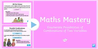 Year 6 Algebra Enumerate Possibilities Maths Mastery Activities PowerPoint