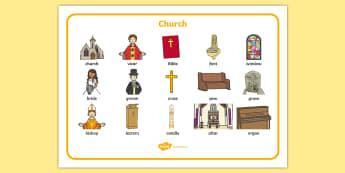 Christian Church Word Mat - Church, Christian, God Jesus, word mat, writing aid, minister, Vicar, bible, bells, organ, Sunday, cross