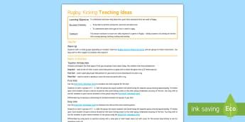 Rugby 7: Kicking Teaching Ideas - PE, Rugby, KS3, Lesson plan, kicking, punt, drop kick, place kick