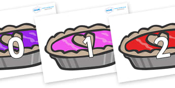 Numbers 0-50 on Jam Tarts - 0-50, foundation stage numeracy, Number recognition, Number flashcards, counting, number frieze, Display numbers, number posters