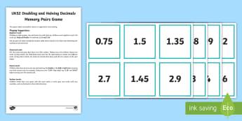 UKS2 Doubling Halving Decimals Memory Pairs Game - memory, pairs, double, half, doubling, halving, game, card game, fractions, decimal numbers, decimal