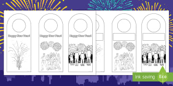 Happy New Year Door Hanger Colouring Page - Door Notices, Hanging Door Sign, Sign, Themed, Key Stage Two, KS2, Hanging, craft, january, christma