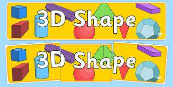 3D Shape Banner - 3D shape display, shape display, shape banner, shape names, shape Pictures, Shape Words