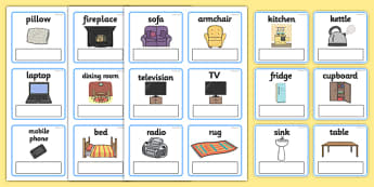 ESL Everyday Objects at Home Editable Vocabulary Cards