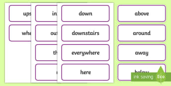 Where? Adverbs Word Cards - teaching adverbs, deaf, deaf education, teacher of the deaf, adverb vocab