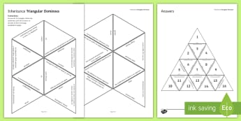 Inheritance Tarsia Triangular Dominoes - Tarsia, gcse, biology, inheritance, variation, gene, genetic, inherit, mutation, natural selection, plenary activity