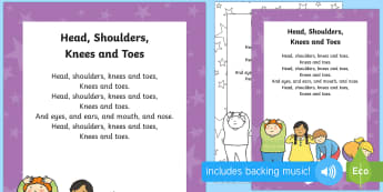 Head, Shoulders, Knees and Toes Rhyme - heads, shoulders, knees, toes, rhyme, nursery rhyme, song, lyrics, sing along, sing, activity