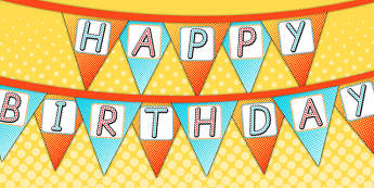 Superhero Themed Birthday Party Happy Birthday Bunting - birthday
