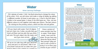 EYFS Water Home Learning Challenges Reception FS2 - EYFS Water, water cycle, rain, rivers, sea, oceans, exploring, home learning, homework, home links,