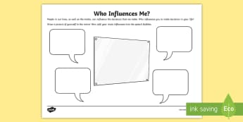 CfE (Second) Who Influences Me? Activity Sheet - health, wellbeing, choices, peer pressure, alcohol, drugs, smoking, media,Scottish, Worksheet