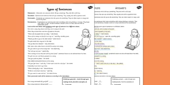 Types of Sentences Differentiated Activity Worksheet - sentences