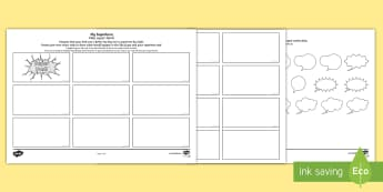 Father's Day Superhero Comic Strip Storyboard Template English/Portuguese - Father's Day, fathers, superhero, dad, comics, comic strips, comic storyboard, storyboard, template