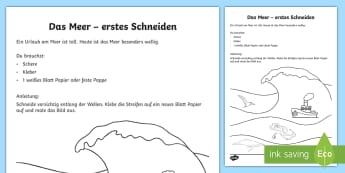 Das Meer Arbeitsblatt: Erstes Schneiden und Kleben - Sommer, Meer, Wellen, schneiden, kleben, Schere, Kl.1/2, summer, sea, waves, cutting, glueing, sciss
