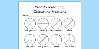 Year 2 Read and Colour a Fraction Worksheet / Activity Sheet - fractions, colours, reading, worksheet